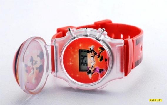 Relógio Infantil Mickey Minnie C/ Tampa E Luzes + Chaveiro