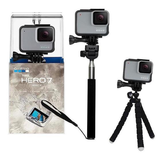 Gopro Hero 7 White Câmera + Bastão De Selfie E Tripé Mini