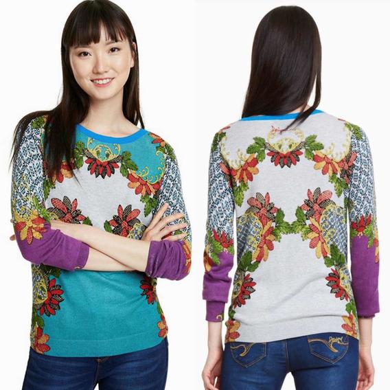 Suéter Desigual Morado Azul Mujer Flores