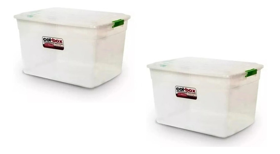 Caja Organizador Plastico Apilable Tapa Taper 34 Lts Kit X 2