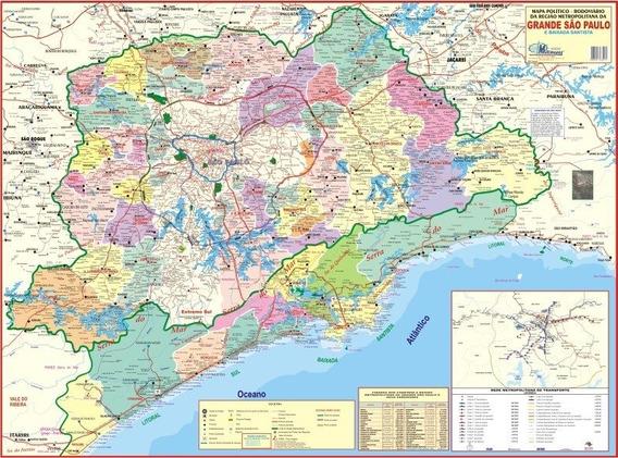 Mapa Grande São Paulo E Baixada Santista 120 X 90cm Gigante