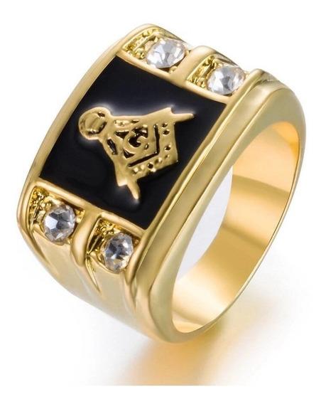 Anel Masculino Maçom Templários Aço Titânio Ouro Banho 18k