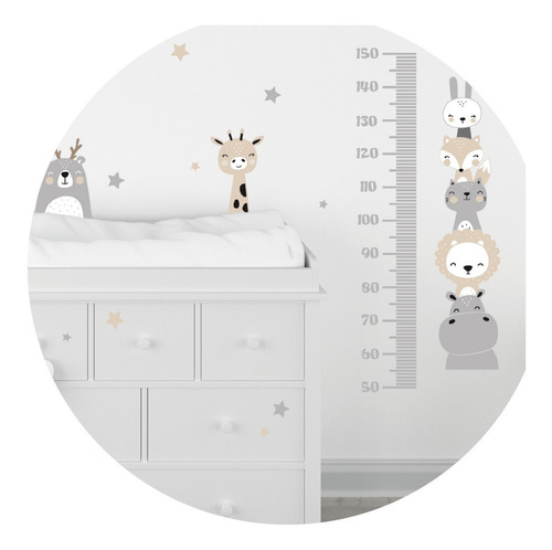 Vinilo Decorativo Medidor  Infantil  Animalitos Nordico