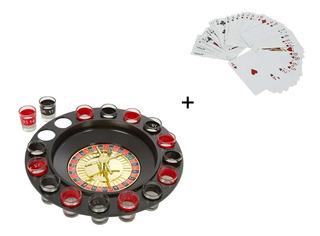 Ruleta Shots Casino + Cartas Plástico 16 Vasos Juego Fiesta