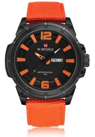 Relógio Naviforce 9066 Laranja Pulseira Nylon Original Aço