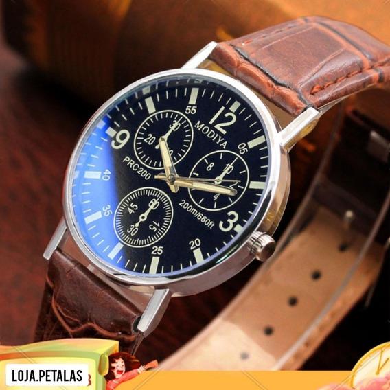 Relógio Quartzo Com 6 Ponteiros Vidro Brilhante Masculino