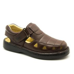 Sandália Masculina 302 Em Couro Floater Café Doctor Shoes
