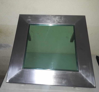 Mesa De Centro Acero Inox C18 Con Vidrio Al Centro