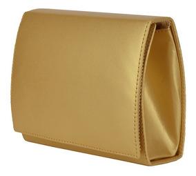 Bolsa De Festa Dourada Clutch De Mão Pequena Alça Corrente