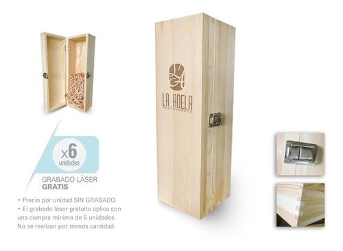 Baúl Madera Caja Para 1 Botella Vino / Grabado Mín 6 Ud