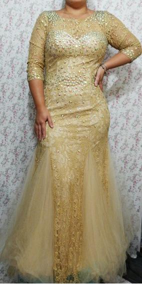 Vestido De Festa Nude E Dourado Com Pedrarias Mães Madrinhas