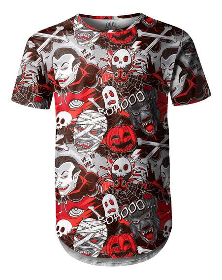 Camiseta Masculina Longline Swag Monstros Do Horror