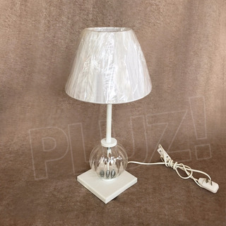 Lámpara Velador C/ Vidrio Y Pantalla Organza Hierro Blanco