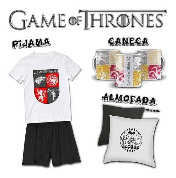 Kit Pijama Masculino + Almofada + Caneca Game Of Thrones