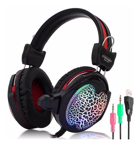 Fone Headset Gamer Microfone Profissional P2 Usb Led Pc 12x