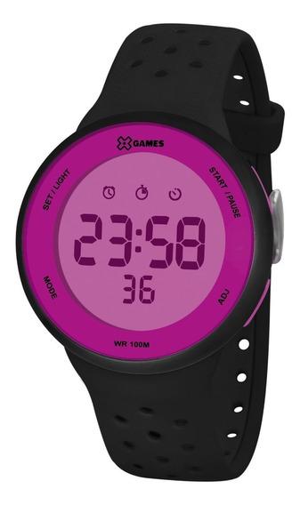 Relógio X-games Feminino Digital Xfppd077 Rxpx Roxo Preto
