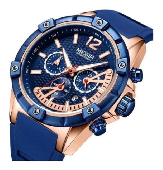 Reloj De Lujo Megir Modelo 2083 Deportivo Elegante Gold Rose