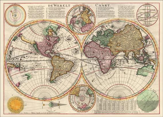 Mapa Do Mundo Grande Retrô 50x80cm Vintage Antigo