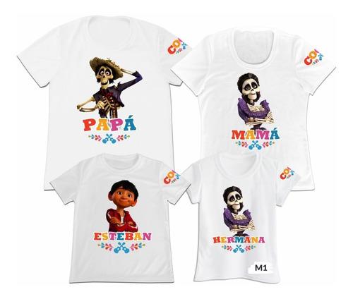 Camiseta Set 4 Familia Papa Mama Hijo Coco Personalizada