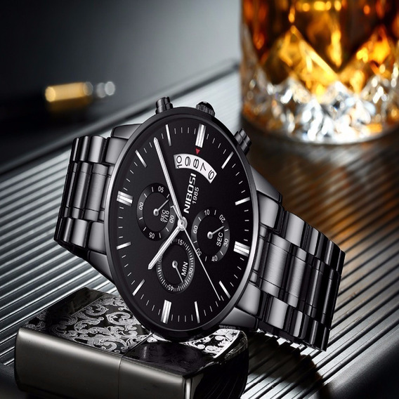 Relógio Nibosi Preto Modelo 2309 Original Todo Funcional