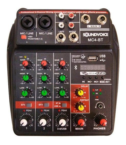 Mesa De Som Compacta Soundvoice Mc4bt Usb - Ms0059