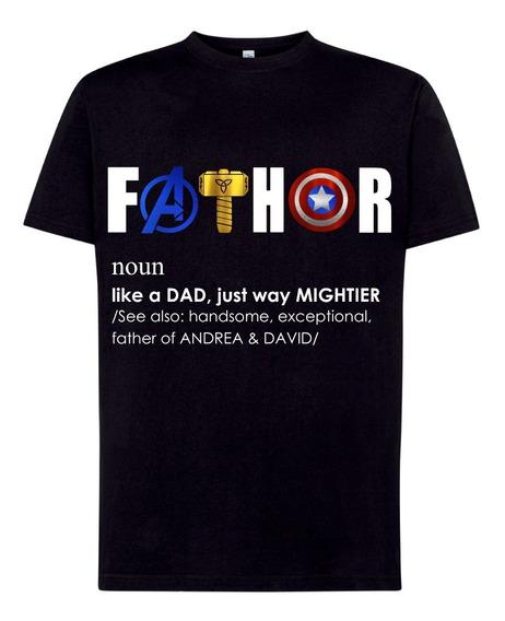 Playera Día Papá Avengers: Personalizada Con Nombre Hijos