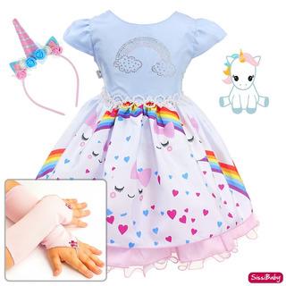 Vestido Festa Infantil Unicórnio Arco Íris Luxo Tiara Luvas
