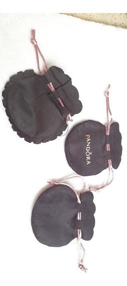 5 Bolsas Suede Negras Logo Rosa Pandora