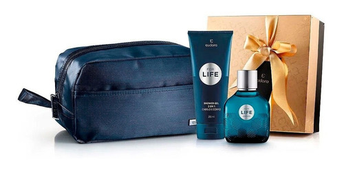 For Life Deo Colônia + Shower Gel + Necessaire Azul