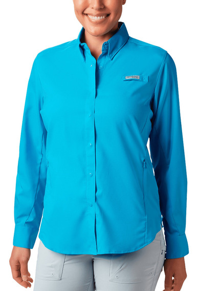 Camisa Columbia Pesca Tamiami Ii Mujer Azul