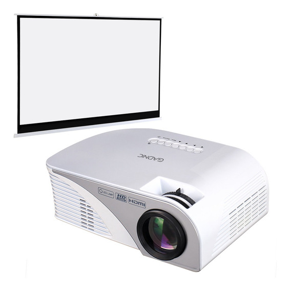 Kit Proyector + Pantalla 100 Gadnic Full Hd 1200 Lumens Tv