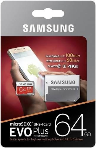 Cartao Samsung Micro Sd Evo Plus 64gb 100mbs U3 Lacrado +adp