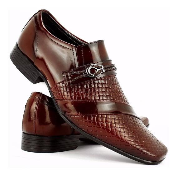 Sapato Social Couro Casual Masculino Verniz Dhl Calçados