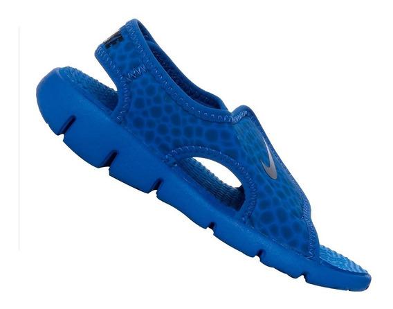 Sandália Papete Nike Sunray Adjust4 Azul 386518414 Original