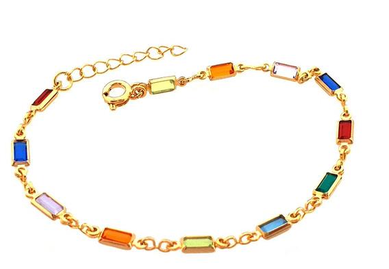 Pulseira Feminina Pedra Quadrada Colorida Folheado Ouro 18k