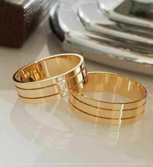 Alianças Ouro Casamento Banhada 18k Anatômica Tradicional