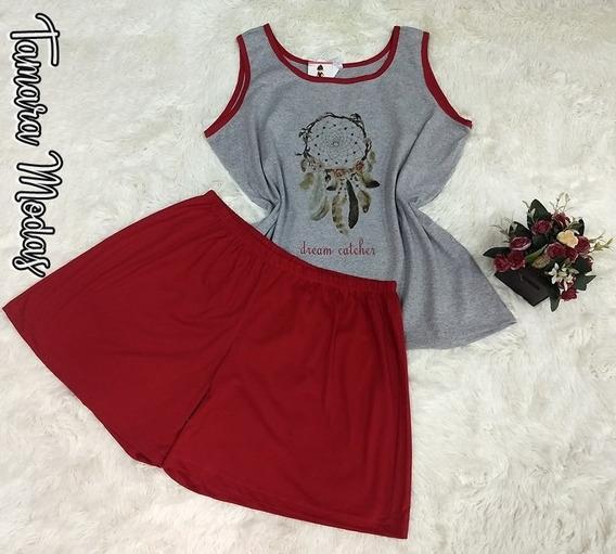 Pijama Conjunto Plus Size G2 Veste 52 Em Malha Shorts+blusa