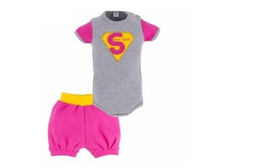 Conjunto Super Bebê Body E Short Tamanho P