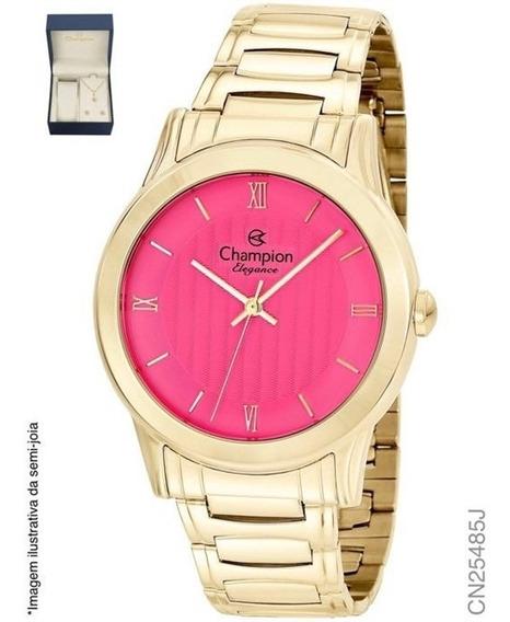Relógio Champion Analógico Cn26377w Feminino + Semijoia
