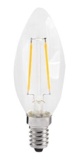 Kit Com 21 Lampadas Vela Lisa Filamento De Carbono 2w E14