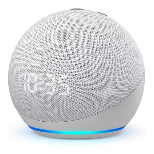 Imagen 1 de 2 de Amazon Echo Dot 4th Gen with clock con asistente virtual Alexa, pantalla integrada glacier white 110V/240V