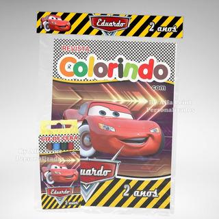 50 Kit Colorir Carros Disney Mcqueen Revista Giz Lembrança