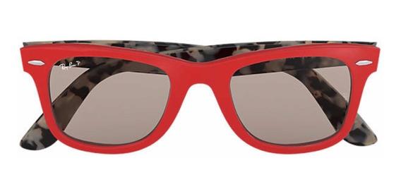 Óculos De Sol Ray Ban Wayfarer Pop Vermelho Original Novo