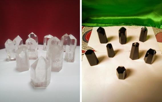 Kit 10 Pontas Quartzo Crista Natural E Obsidiana Negra Reiki