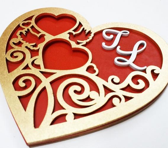 Porta Alianças Coração Dourado Personalizado
