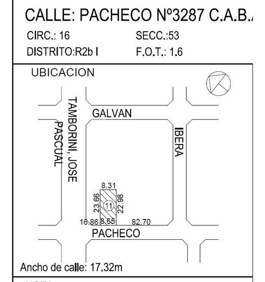 Pacheco 3200 - Villa Urquiza - Terrenos/fracciones/loteos Fracciones Urbanas - Venta