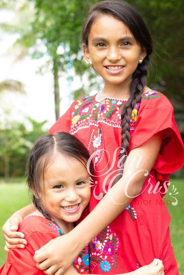 Lote De 25 Vestidos Bordados Mexicanos De Niña - Chiapas