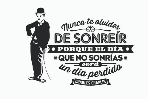 Vinilo Decorativo Frases Pared Vidrio Chaplin Calco Sticker