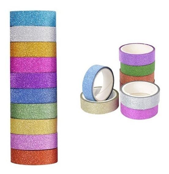 50 Fitas Washi Tape Adesiva Glitter Decorativa Artesanato