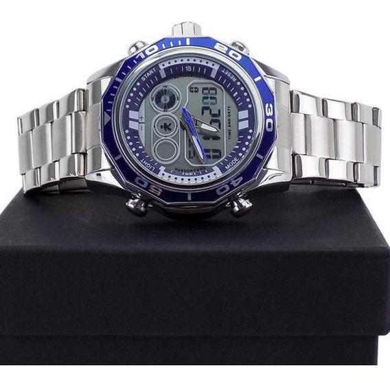 Relógio Masculino Orizom Azul Aço Homem Moderno + Caixa